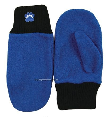Embroidered Fleece Mittens - S/M & M/L