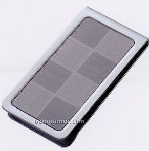 Metal Chrome Plated Dark Gray/ Light Gray Checkered Patterned Money Clip