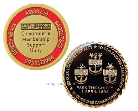 "Antique Brass Challenge Coins W/Soft Enamel Fill - Priority (1 1/2"")"