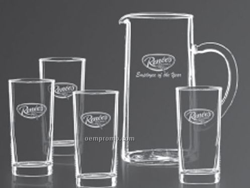 Aristocrat Water Pitcher W/4 Hiball Drinking Glasses
