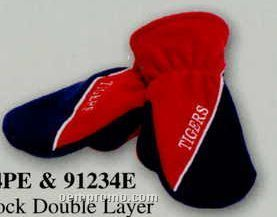 Premium Polar Fleece Colorblock Double Layer Mittens With Piping