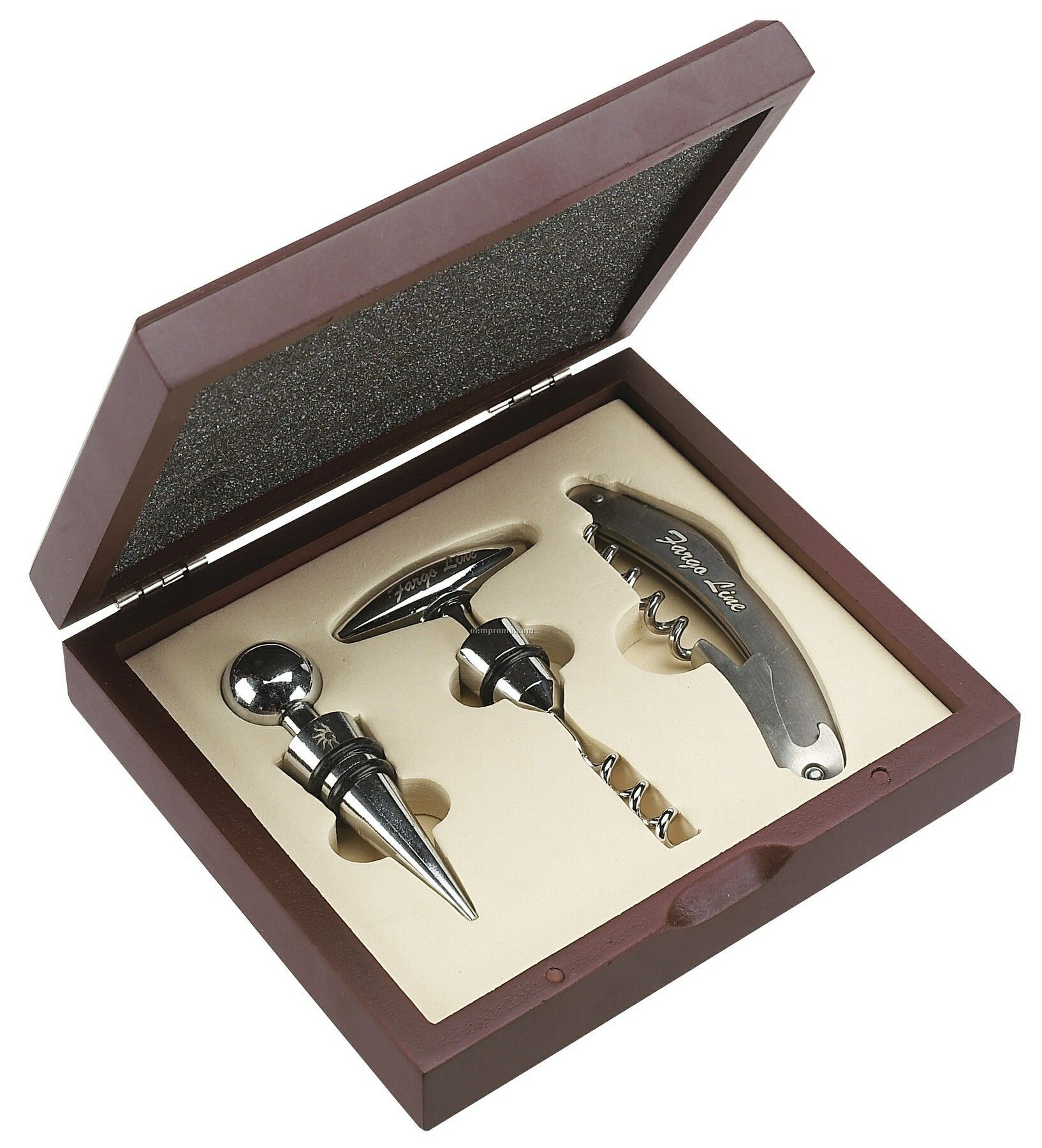 3 Piece Wine Opener Set W/ Chrome Trim