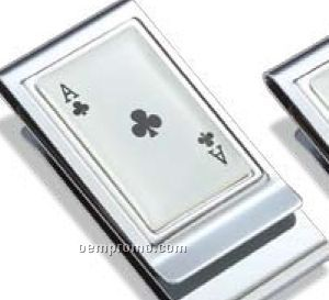 Ace Of Club Metal Chrome Plated Money Clip