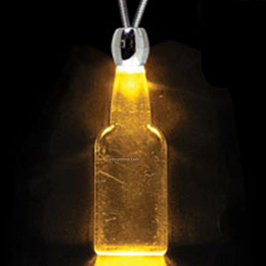 Amber Orange Acrylic Flat-faced Bottle Pendant Light Up Necklace