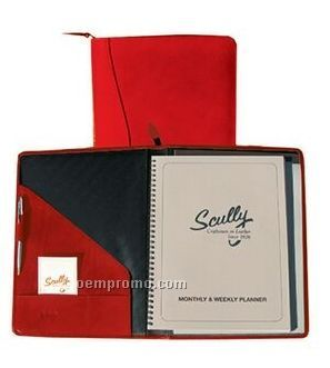 Brown Tooled Leather Zip Planner & Letter Pad