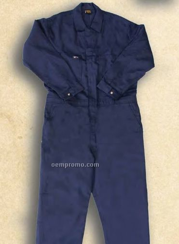 Flame Resistant Navy Blue 100% Cotton Coverall (9 Oz.)