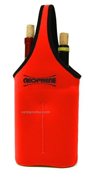Neoprene Double Bottle Sleeve - Red