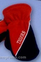 Promotional Polar Fleece Colorblock Double Layer Mittens With Piping