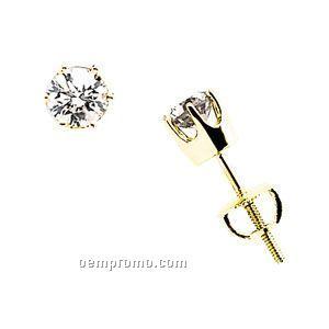 Ladies' 14kw 1 Ct Tw Diamond Round Earring (6 Prong Screwback)