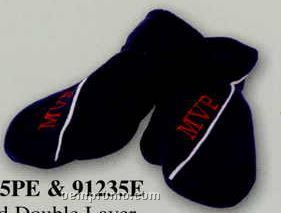 Promotional Polar Fleece Solid Double Layer Mittens With Piping