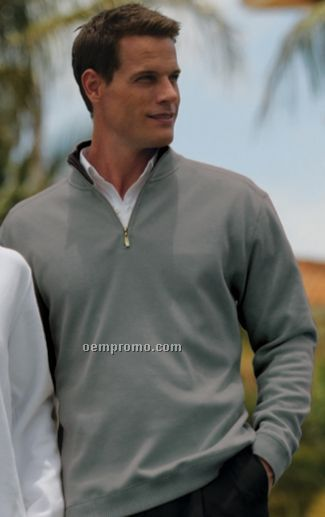 Tehama Men`s Drake 1/4 Zip Brushed Poly Cotton Sweater