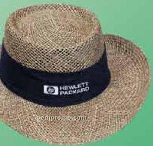 Twisted Linen Straw Gambler Hat W/ Upturned Brim & Sunblock Lining
