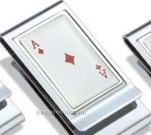 Ace Of Diamonds Metal Chrome Plated Money Clip