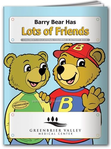 Action Pack Color Book W/ Crayons & Sleeve - Barry Bear Has Lots Of Friends