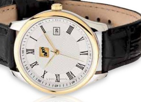 Watch Creations Men's 2 Tone Silver/ Gold Watch W/ Black Leather Strap
