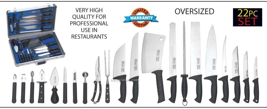 Slitzer 22 PC Professional Chef's Cutlery Set In Case