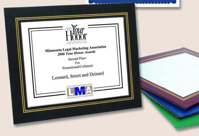 Green Leatherette Certificate Frames