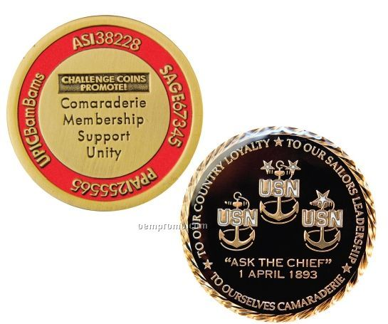 "Antique Brass Challenge Coins W/Soft Enamel Fill - Super Saver (2"")"