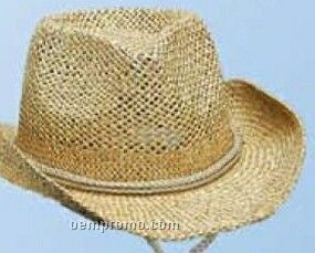 Natural Beige Straw U Shape It Western Hat W Inside Stretch Band