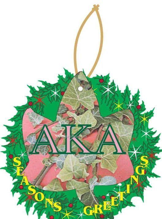 Alpha Kappa Alpha Sorority Ivy Wreath Ornament W/ Mirror Back (6 Sq. Inch)