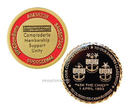 "Antique Gold Challenge Coins W/Soft Enamel Fill - Priority (1 1/2"")"