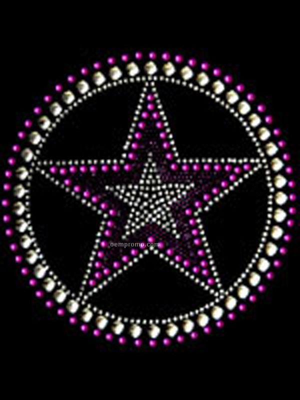 Circle And Star Rhinestone Transfer Purple
