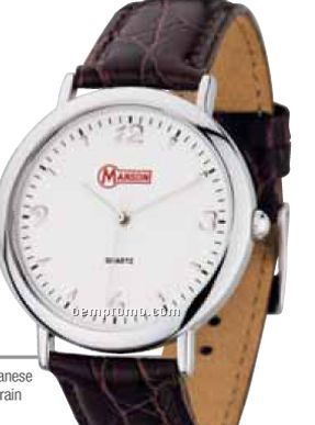 Watch Creations Ladies' Silver Dress Watch W/ Brown Leather Strap