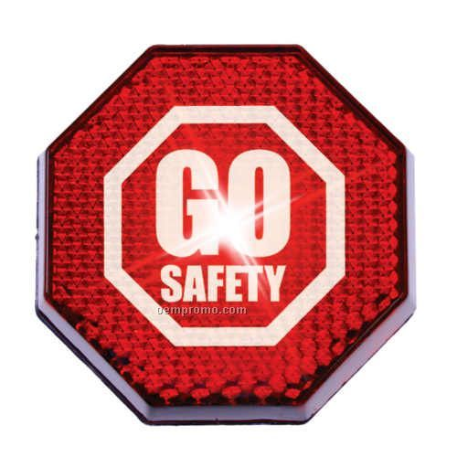 Buzstrobe Safety Reflectors Button - Red Octagon With Red LED