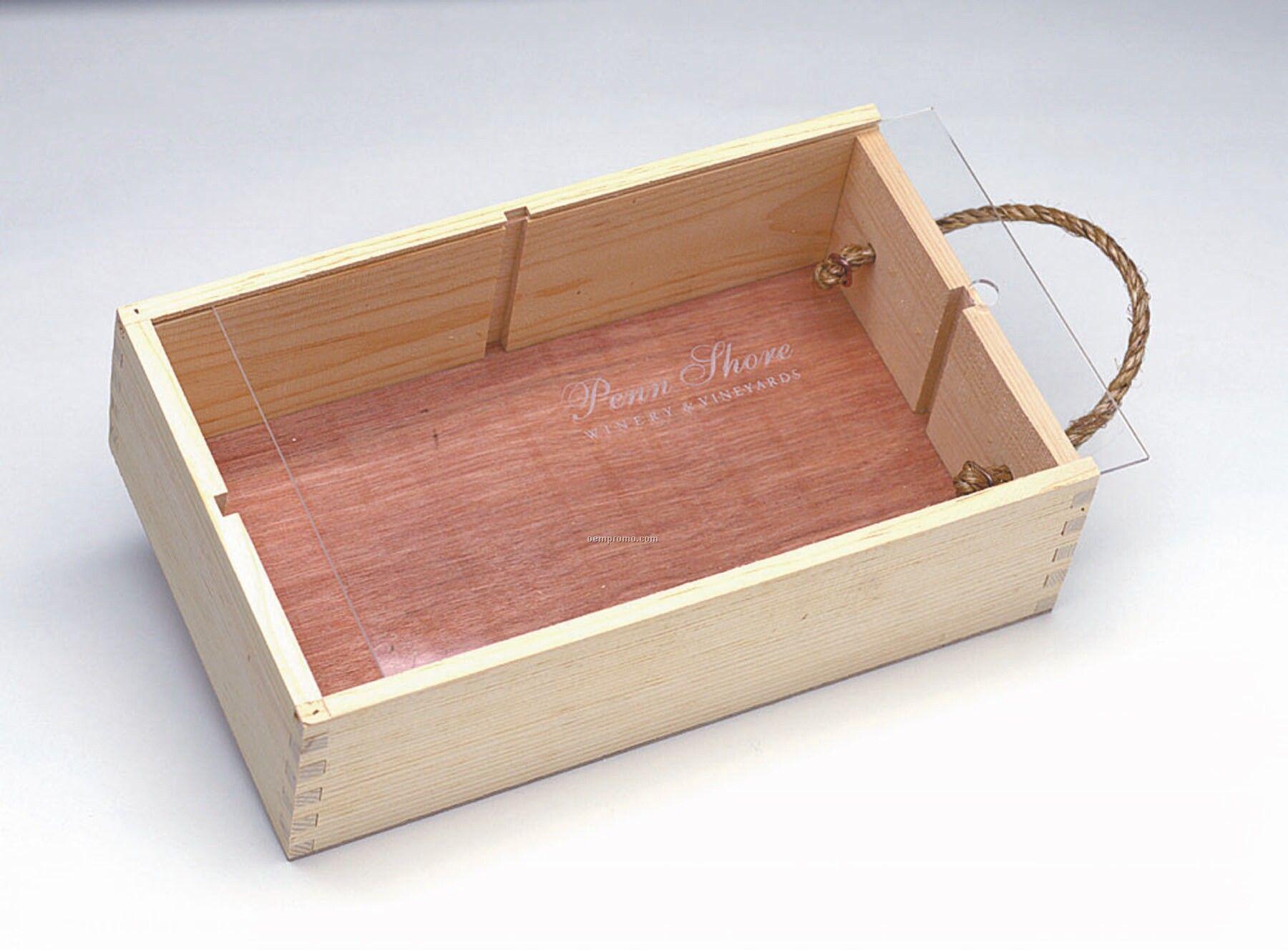 """Medium Slider Box W/ Acrylic Lid (8 1/8""""X13 7/8""""X4"""")"""