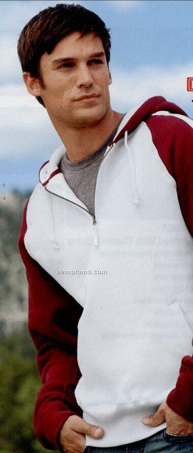 J America Quarter Zip Pullover Hooded Sweatshirt