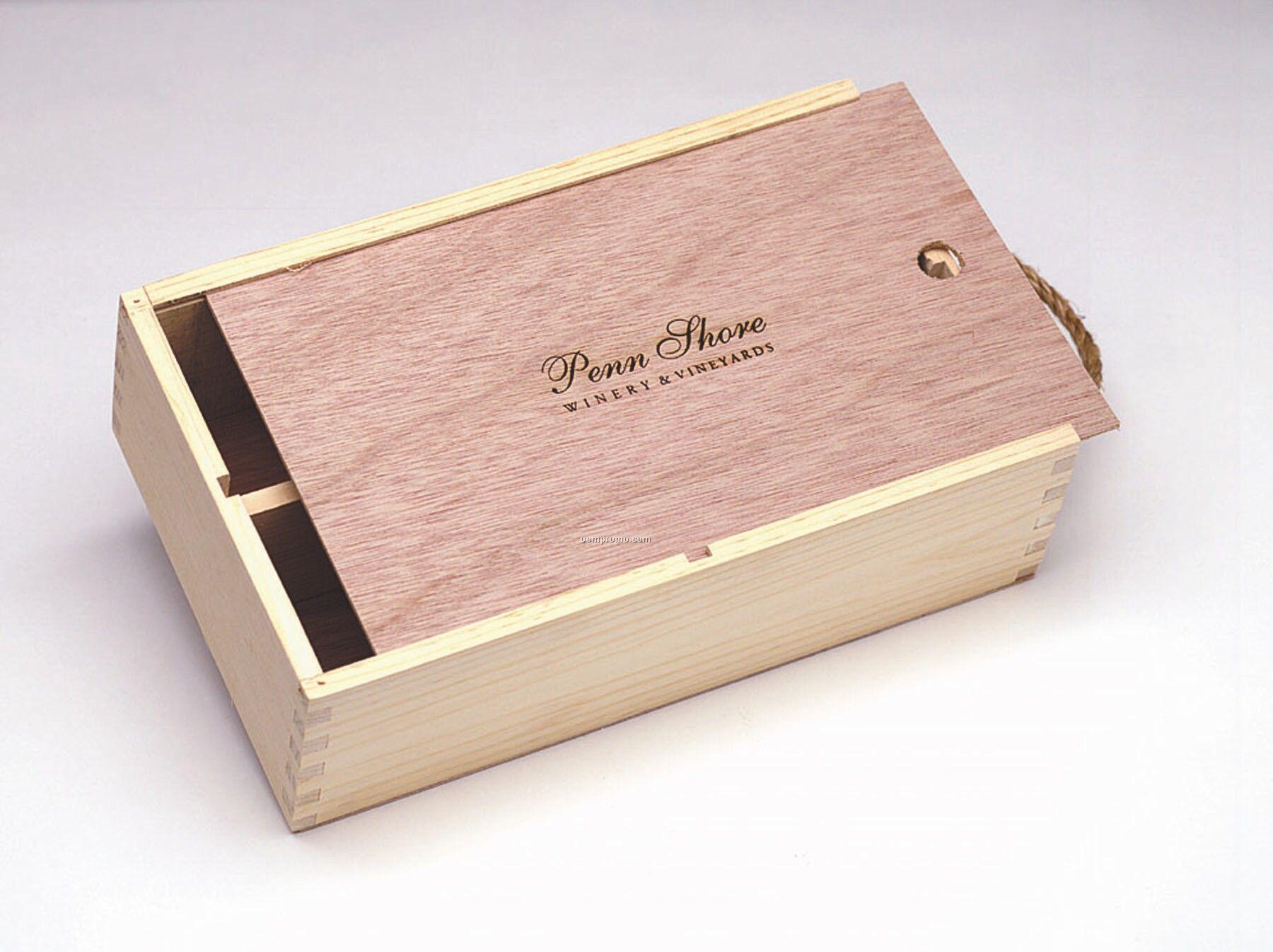 """Medium Slider Box W/ Wood Lid (8 4/2""""X13 7/8""""X4"""")"""
