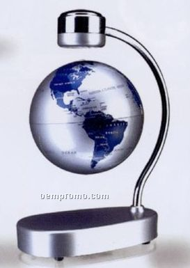"Magnetic Suspension Terrestrial Globe With Small Base - 5 1/2"" Silver Globe"