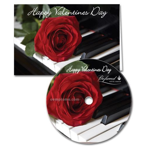 Single Rose Valentine's Day Greeting Card With Matching CD