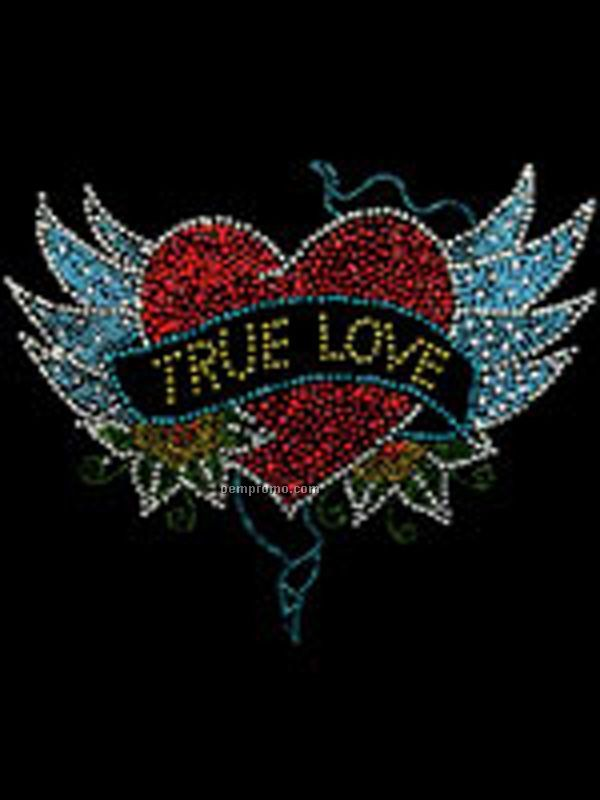 True Love With Wings Rhinestone And Rhinestud Transfer Large