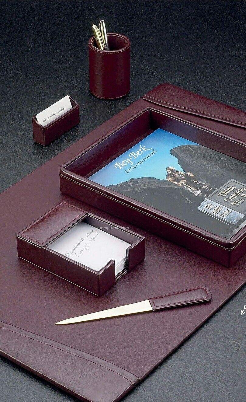 Burgundy Leather 6 Piece Desk Set