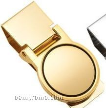 Gold Round Polished Money Clip