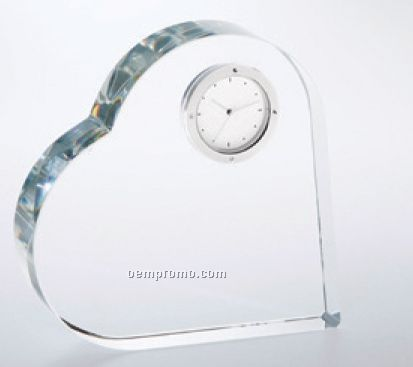 Heart Keepsake Crystal Clock Award