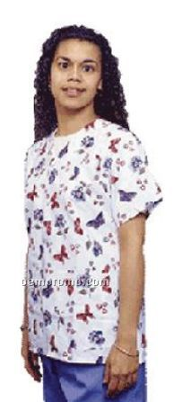 Ladies Butterfly Print V-neck Gripper Tunic Scrub Top (Xs-xl)