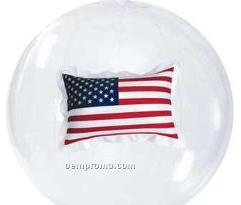 Transparent Beach Ball W/ U.s. Flag Insert