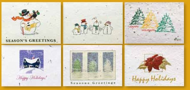 Floral Seed Paper Holiday Six Pack Cards - Plain Six Pack