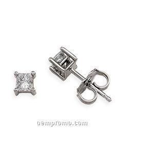 Ladies' 14kw 1/4 Ct Tw Diamond Square Princess Earring (4 Prongs)