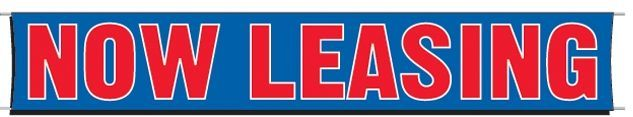 3'x20' Fluorescent Stock Slogan Banner - Now Leasing