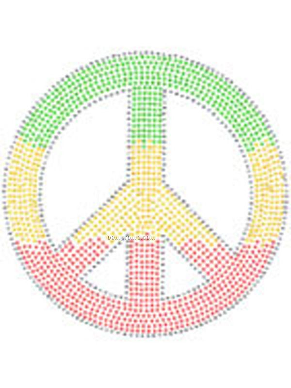 Peace Symbol 3 Color Rhinestones Transfer