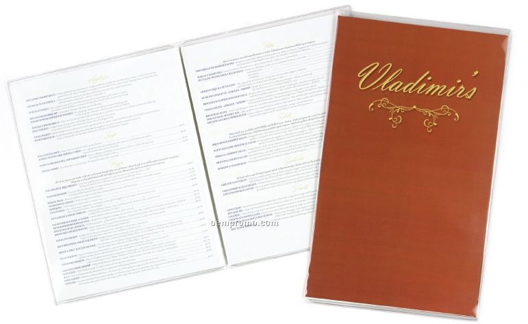 "Clear Heat Sealed Menu Cover - Two View (8 1/2""X11"")"