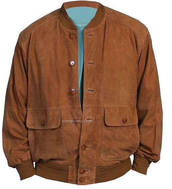Mens Brown Leather Bomber Jacket