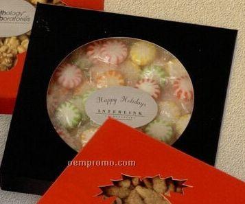 Plastic Dish W-wrapped Bullseye Caramels In Black Sleeve W/ Circular Window