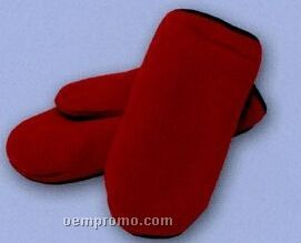 Promotional Polar Fleece Double Layer Mittens With Black Binding