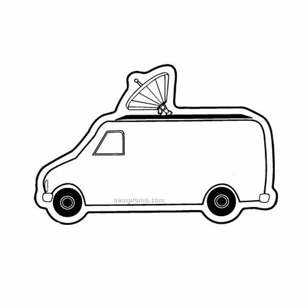 Stock Shape Satellite News Van Recycled Magnet