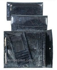 Black Ostrich Leather Wallet Clutch