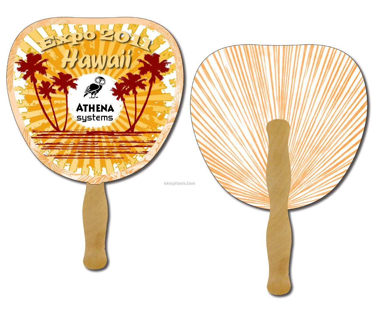Hand Fans - Printed 2 Sides 4 Color Process- Attached To Wooden Stick -leaf